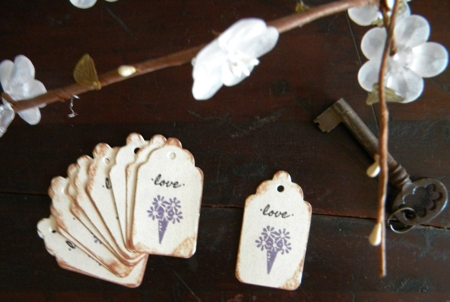 Hanging Wedding Gift Tags : Purple Flowers Wedding Gift Tags Favors Hang Tags by GiftTagLady