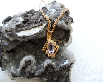 NOS February Birthstone Necklace Lavender Necklace Gold Amethyst Necklace Lavender Pendant Delicate Pendant Necklace Purple Crystal Necklace