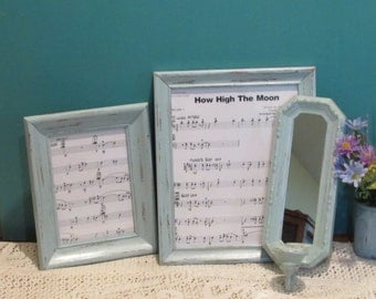 Shabby Picture Frames and Mirror Candle Holder ~ Blue Frames ~ Distressed Shabby Frames  ~ Cottage or Beach Décor ~ Upcycle Frames