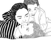 Custom Portrait, 3 people, digital drawing, unique gift for birthday, wedding… ! Mother gift, Kid, children gift, Black & White illustration
