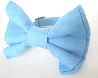 Dog collar with detachable bow tie Baby blue dog collar Dog bow tie collar