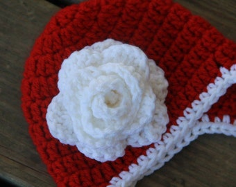 Red with White Flower Hat