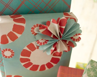 Turquoise and Red Peppermint Candy Reversible Eco Gift Wrap // Modern Wrapping Paper // 6-sheets
