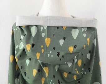 Cotton Jersey Knit Fabric Raindrops Khaki By The Yard