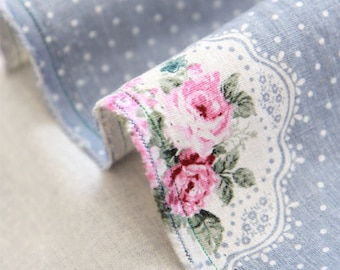 Cotton Linen Fabric Polka Dot Rose Blue By The Yard