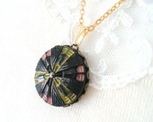 Intricate Glass Necklace, Czech Glass Necklace, Black Pendant, Yellow, Pink, Silver