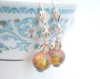 Antique Pink Floral Earrings, Yellow Rose Earrings, Vintage Beaded Earrings, Tensha Earrings, Feminine Jewelry, Gift for Her