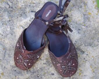 Ethnic Shoes / Strap Sandals /  Indian Beaded Sandals / Summer Shoes / Women Flats / Boho Hippie Sandals