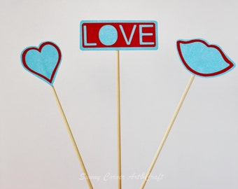 Valentines day topper/Love heart Cake toppers/ Table centerpiece/ Blue and Red Love
