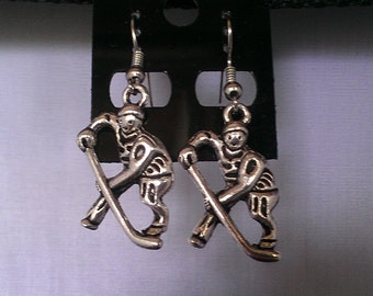 """Pair of Antique Silver 3d """"HOCKEY PLAYER"""" Dangle Earrings"""