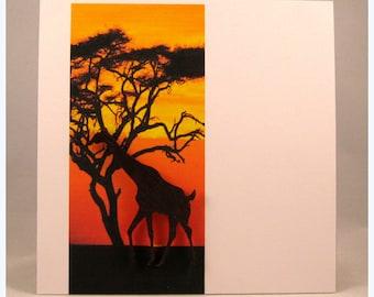 African sunset card featuring a giraffe