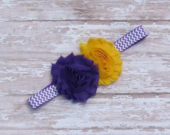 Minnesota Vikings headband-purple and golden yellow-infant headbands-baby headbands-newborn headbands-chevron headbands-babgy girl headbands