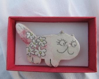 Ceramic brooch -cat ,Pink cat,  Animal jewelry,Handmade Brooch