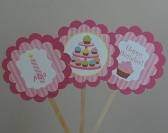Cupcake Theme Cupcake Toppers - Cupcake Baby Shower - Pink Cupcake Theme - Cupcake Birthday - Cupcake Party - Set of 12