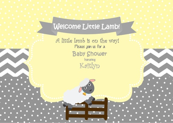 lamb baby shower invitation  little lamb baby shower invitation, Baby shower