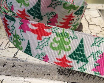 "7/8"" Modern Christmas Trees grosgrain ribbon sold by the yard"