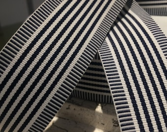 """1.5"""" Preppy NAUTICAL DARK Navy and White Stripe Grosgrain Ribbon sold by the yard"""