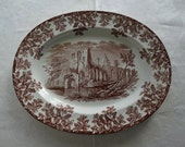 Antique W.T.Copeland and Sons Stoke Upon Trent Brown Transferware 13 inch Melrose Platter. Made in England.