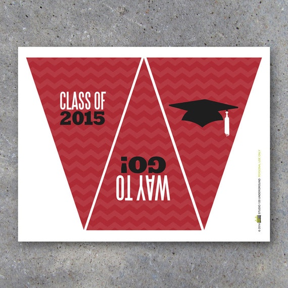 Graduation Banner In Red Instant Download By