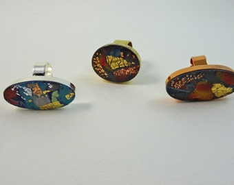 Handmade statement contemporary Polymer Clay rings - silver/gold/copper plated