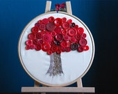 Red button tree embroidery hoop art
