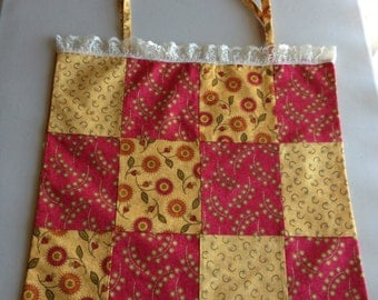 Handmade Red and Gold Patchwork Tote Bag