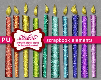 Rainbow colors candle clipart, Glitter clipart, Printable digital scrapbook elements, Chanukah decoration, Birthday clipart instant download