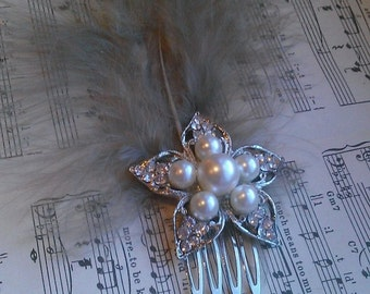 Feathery Fancies- diamante and pearl flower & mink marabou feather hair comb