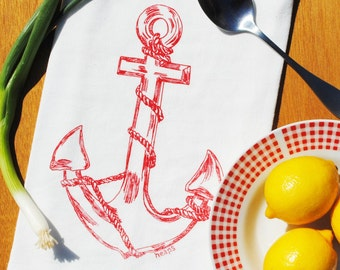 Anchor Kitchen Tea Towel -  Flour Sack Towel - Nautical Towel - Screen Printed Tea Towel - Nautical Wedding Gift