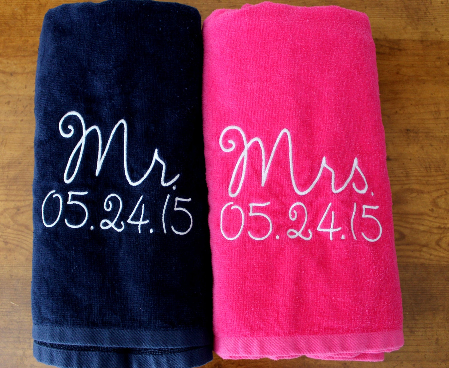 Wedding Gift Towels: Mr. & Mrs. Beach Towel Gift Set Navy Blue And By