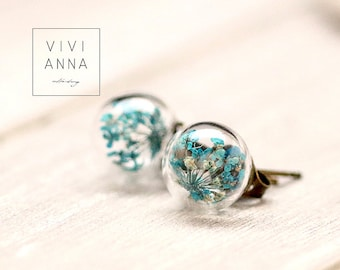 Mini Stud Earrings with dill flowers in turquoise E269