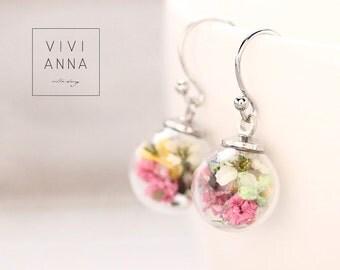 Spring Flowers Silver Brass Earrings (E273)