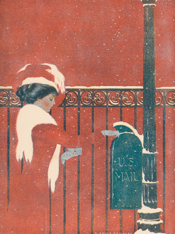 Antique 1911 print of Coles Phillips illustration, 'Between You and Me and the Post', woman posting letter in snow, matted, 11 x 14 inches