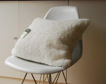 Ivory Shearling Sheepskin Cushion Cover