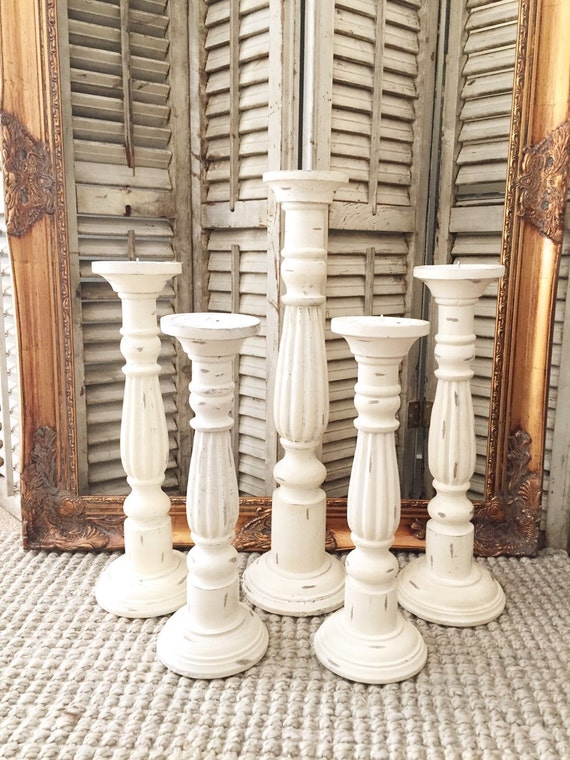 Shabby Chic White Candle Holders Set Of 5 Wood Distressed
