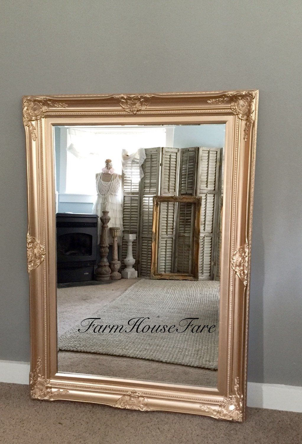 Baroque mirror leaning gold wall hanging mirror by for Leaning wall mirror