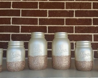 Champagne Wedding Jars/Decorations with Tea Light Holders
