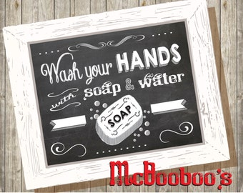 Chalkboard Wash your Hands Poster Instant download