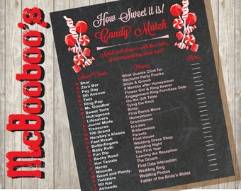 Candy Match Bridal Shower Game INSTANT DOWNLOAD on a chalkboard background