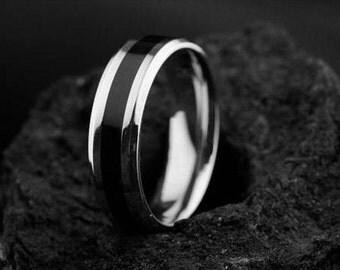 SALE! Titanium Ring with Black Inlay.Titanium Wedding Band. Men's Wedding Bands.Titanium Engagement Ring,Titanium Ring.Mens Engagement Ring.