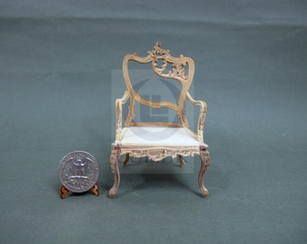 "Unfinished 1""Scale Miniature Fancy Arm Chair For Dollhouse [Right]"
