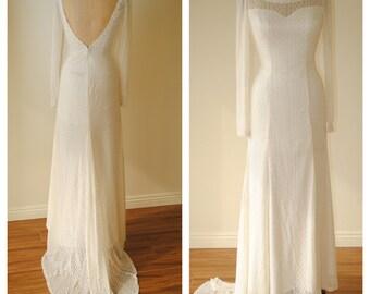 backless embroidered lace bohemian wedding dress. LONG SLEEVE. open back ivory wedding dress. simple plunge back boho wedding gown.