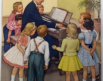 Children Singing Color Print 1956 I Will Be Glad Vintage Print Wall Art Teaching Pictures Home Decor Kindergarten