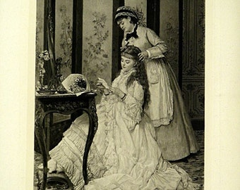 The Indiscreet Soubrette by J.E. Saintin Original Antique Photogravure Print from the 1880s Wonderful Classical Scene Rare !