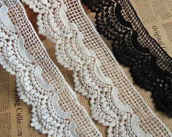 "1yard 2.5"" off white cotton lace ribbon Wedding flower lace DIY material embroidery lace solubility lace for sewing"
