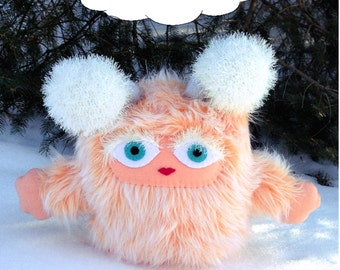 Fuzzabella the Brumblewump - Big Sister to the Troublewumps - She is Not a Monster! Peach, furry stuffed animal.  Children's book character.