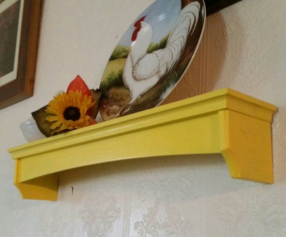 Sale Painted Wood Shelf With Plate Groove Bright Yellow W