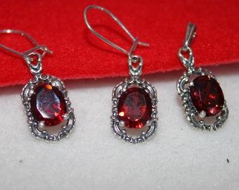 Red Zircon and Sterling Silver Jewellery set of Necklace and Earrings