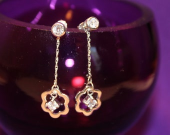 Sterling Silver and White Zircon Earrings