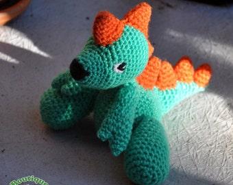 Dan the Dinosaur Crochet Amigurumi Green and Orange - Plush